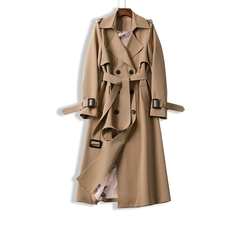 Spring and Autumn Casual Trench Coat with Belt
