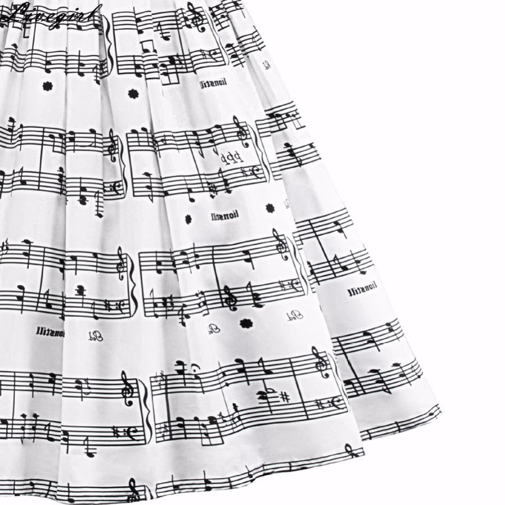 Women Fashion Trendy Style Music Note Print Strap Sleeveless Swing Dress