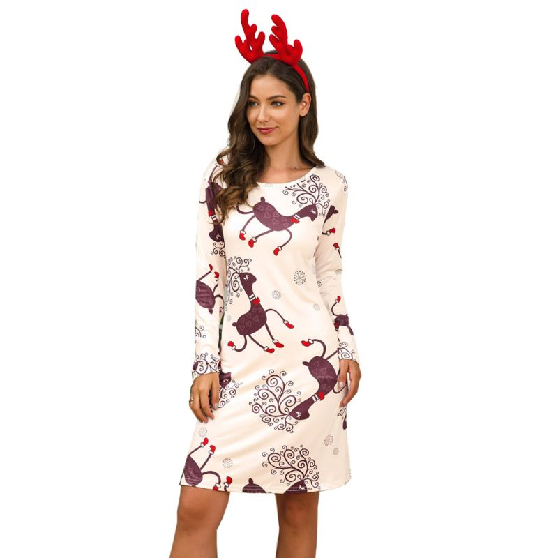 Women's Long Sleeve Christmas Party A-Line Mini Dress