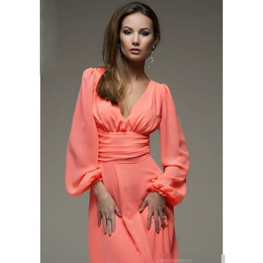 Sexy Deep V-neck Summer Long Sleeves Elegant  Dresses