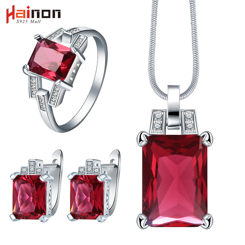 women crystal necklace earring ring