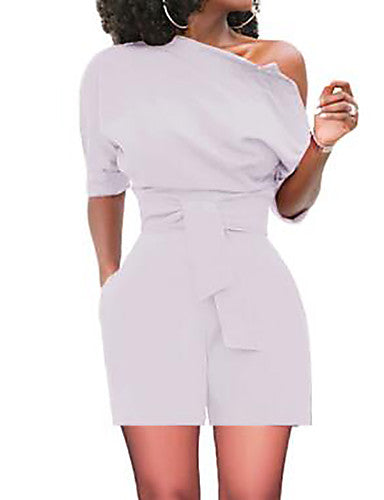 Women's Basic One Shoulder Wide Leg Romper
