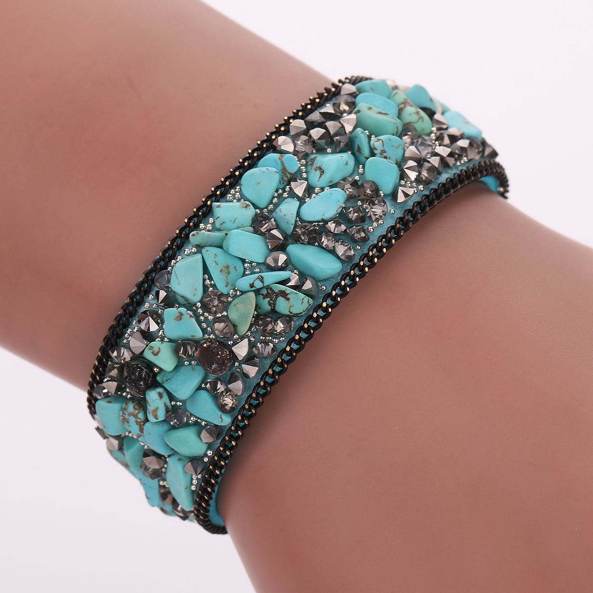Women Leather Bracelet Bangle with Stones