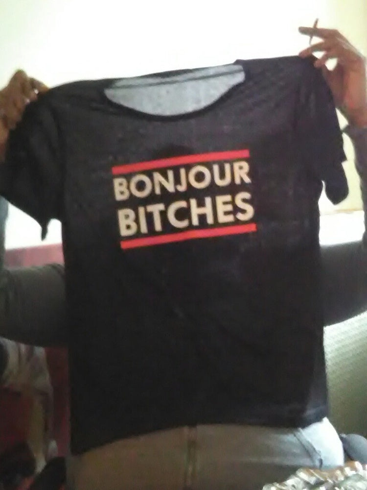 Women's Bonjour Bitches Letter Printed T-shirt