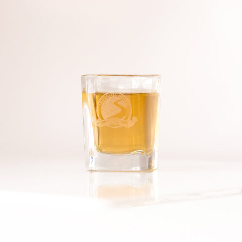 2 oz Prism Shot Glass with Etched Vintage SND Logo | Smugglers' Notch Distillery Online Store