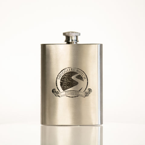 Classic Stainless Steel Hip Flask with Vintage Logo, 4 oz | Smugglers' Notch Distillery Online Store