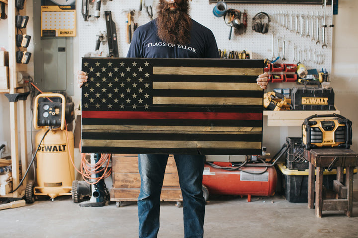 Thin Red Line Wood Flag made in America by Veterans at Flags of Valor
