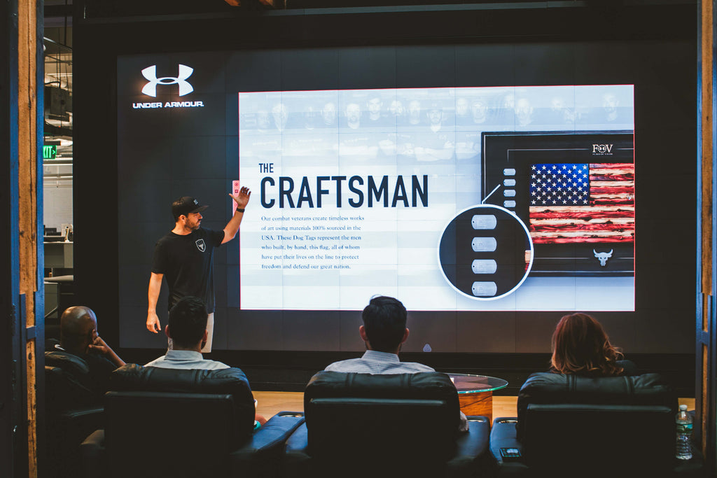 Under Armour with Flags of Valor highlighting the veteran craftsmen