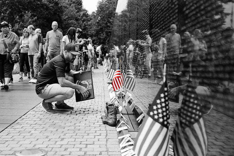 Flags of Valor at the Vietnam War Memorial Wall