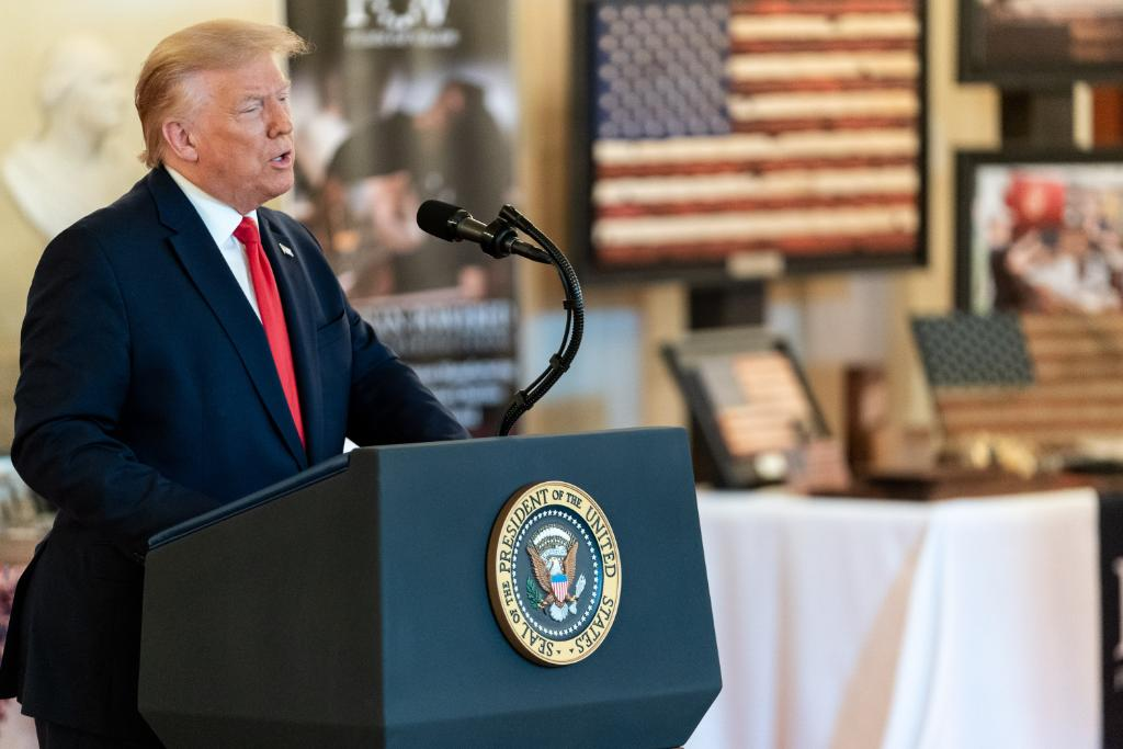 President Trump speaks in front of Flags of Valor showcase at White House