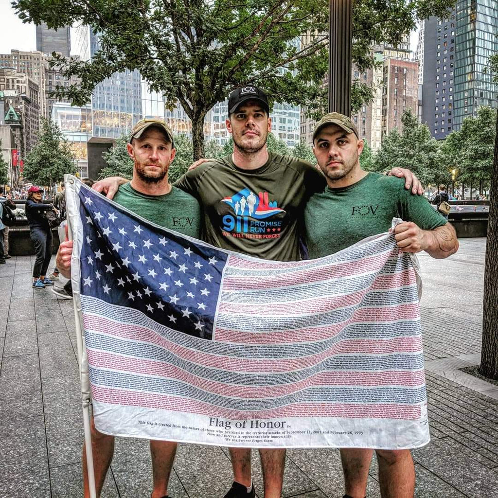 Flags of Valor Team carries American Flag in 9/11 Promise Rune