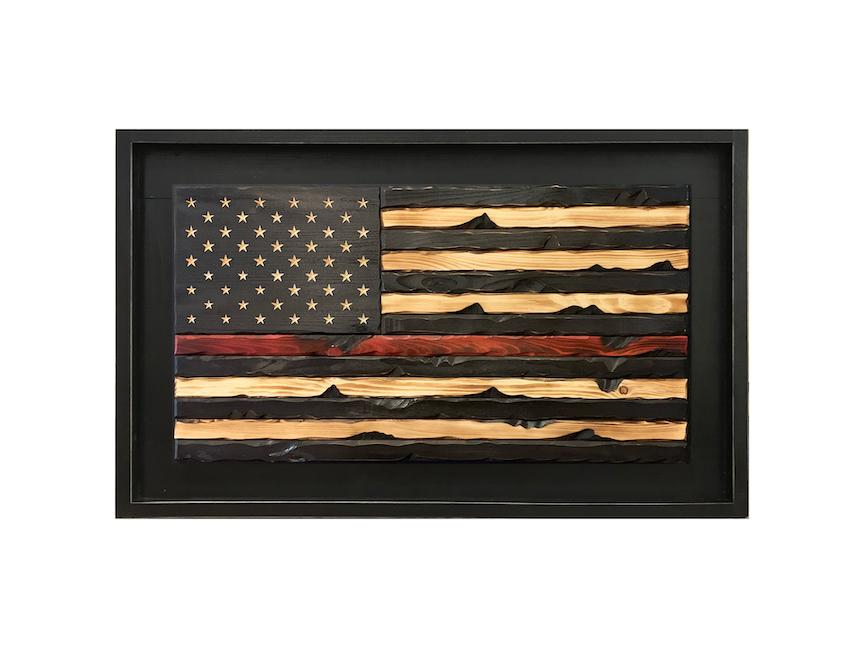 Framed Wooden Firefighter Flag - Thin Red Line