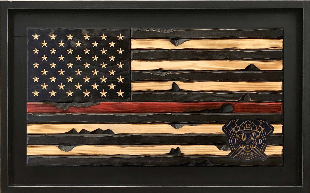 Custom Wooden Thin Red Line First Responder Fire Fighter American Flag