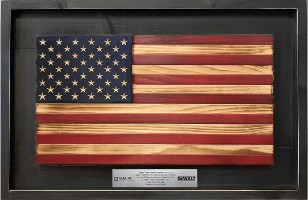 Custom Wooden American Flag with Engraved Plate