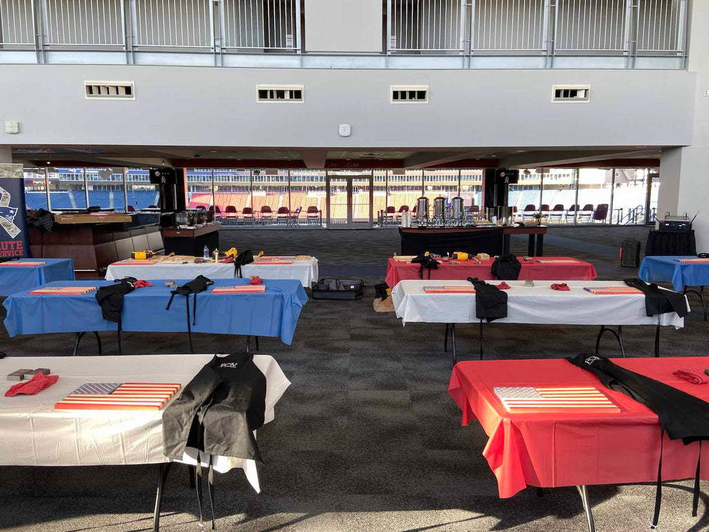 Gillete Stadium Transformed into wooden flag workshop