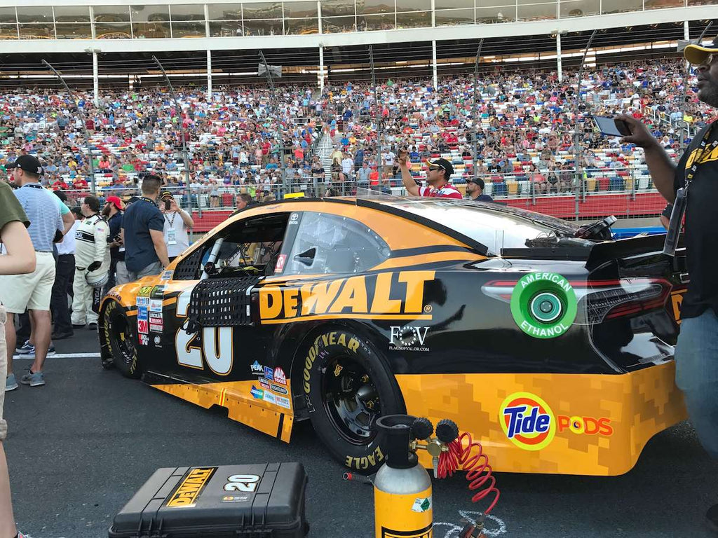 Flags of Valor logo on Nascar stock car DEWALT #20