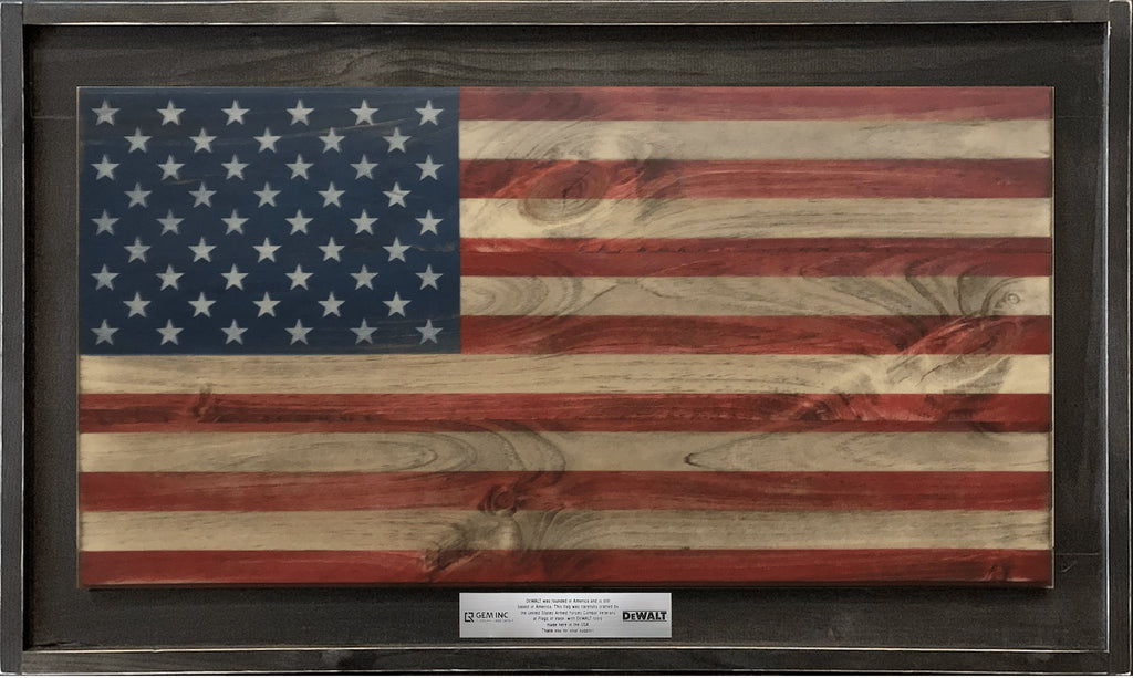 Custom Red White and Blue Wood Flag