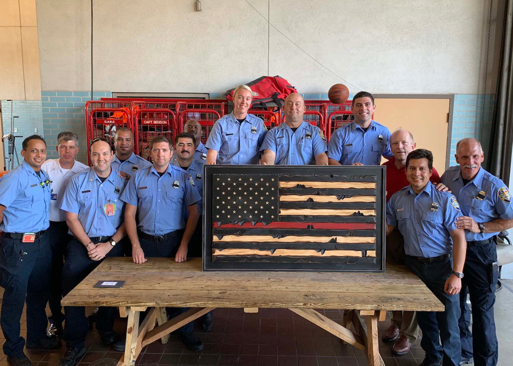 Texas First Responders with Wooden Thin Red Line First Responder Flag