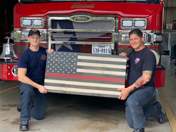 Wooden Thin Red Line First Responder Flag