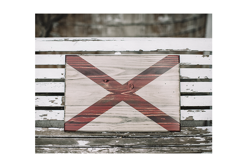 Wooden flag of the State of Alabama - crafted by Combat Veterans at Flags of Valor