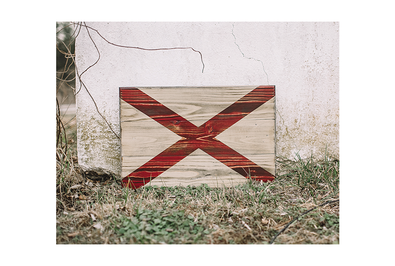The State of Alabama Wooden Flag - rustic wooden flag crafted at Flags of Valor