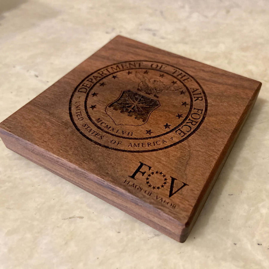 Walnut Military Coasters
