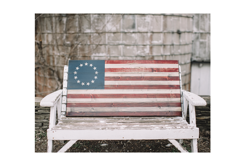 Midway (M) Wooden American Flag