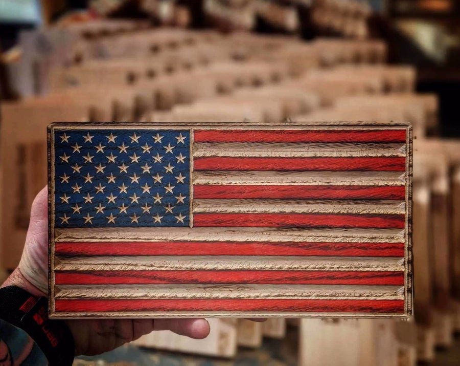 Wooden American Desk Flag