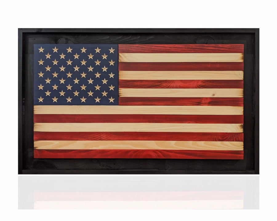 Framed wood american flag made by veteran