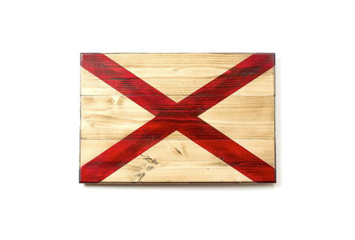 The State of Alabama Wooden Flag - crafted at Flags of Valor by Combat Veterans