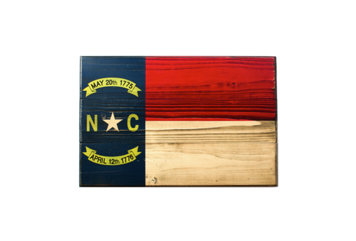 The State of North Carolina Wooden Flag