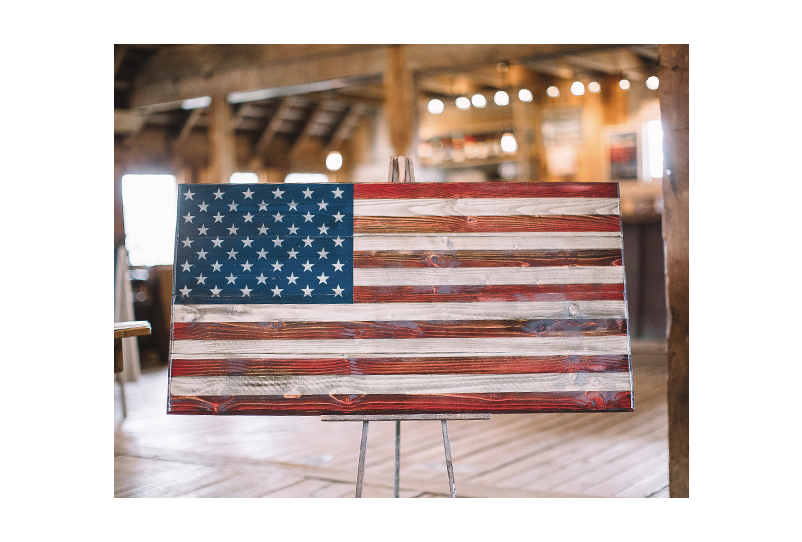 Welcome Home (M) Wooden American Flag