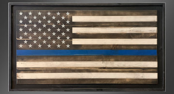 Personalized Old Glory - Thin Blue Line - Framed