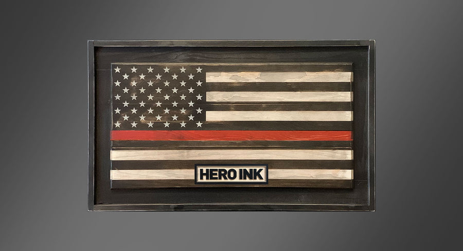 Personalized Old Glory - Thin Red Line - Framed