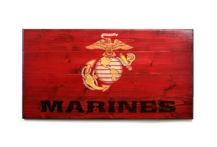 United States Marine Corps Wooden Flag - made at Flags of Valor by Combat Veterans