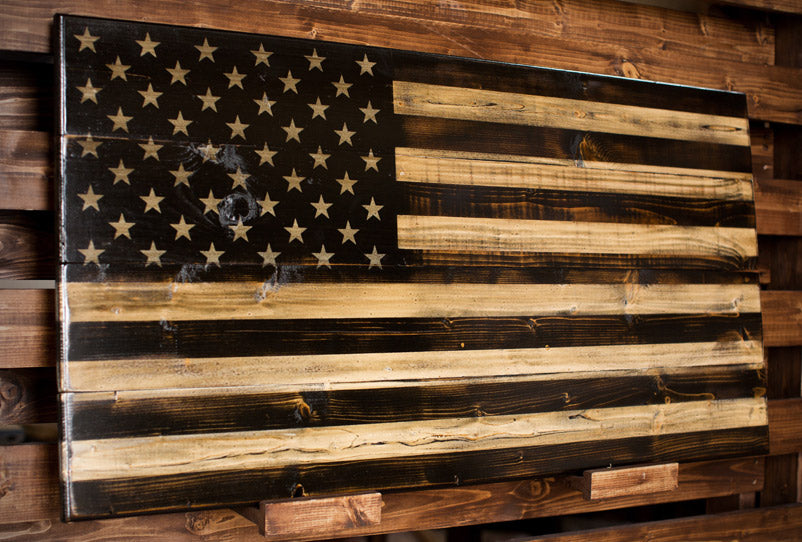 Red Line American Flag >> Wooden Subdued American Flag | Wood Front Line Flag ...