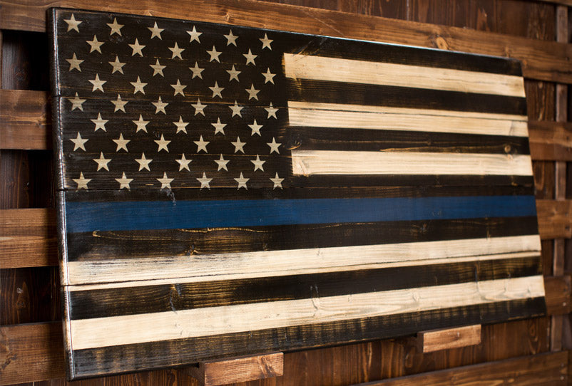 Thin Blue Line - The Lines Collection by Flags of Valor - Combat Veteran Made Wood Flags