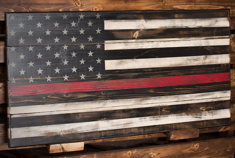 Thin Red Line - The Lines Collection by Flags of Valor - Combat Veteran Made Wood Flags