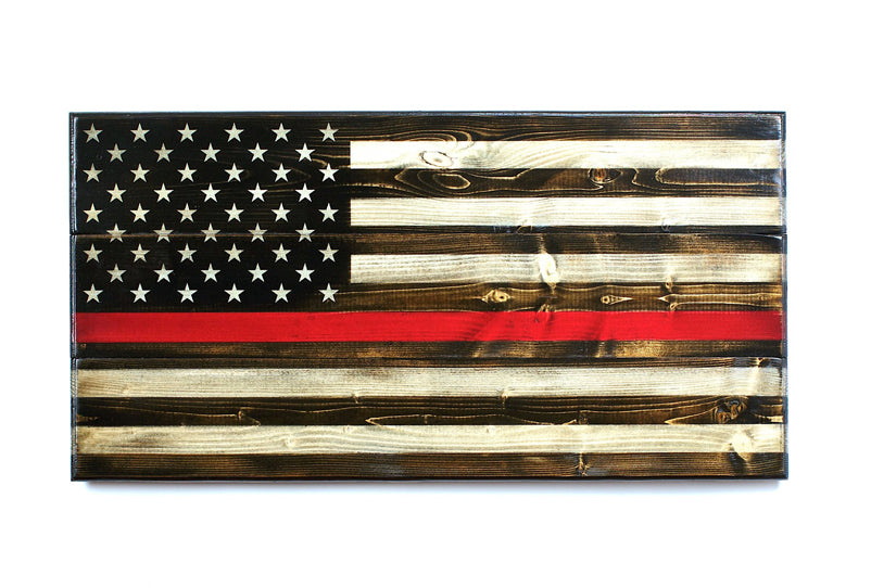 Thin Red Line Wooden American Flag