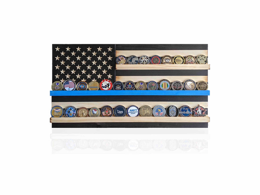 Thin Blue Line Challenge Coin Holder Flag