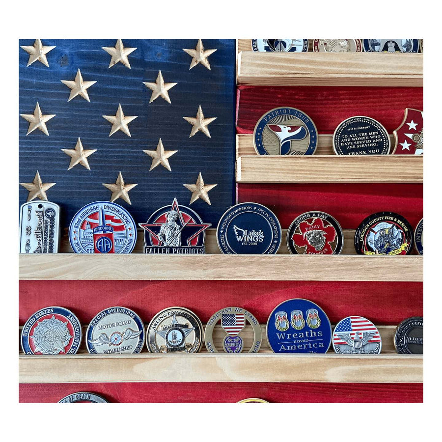 Wooden Coin Holder American Flag zoomed in