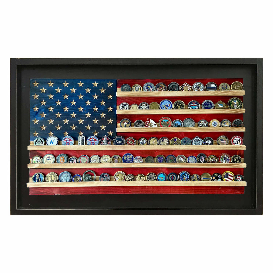 Framed Wooden Coin Holder American Flag
