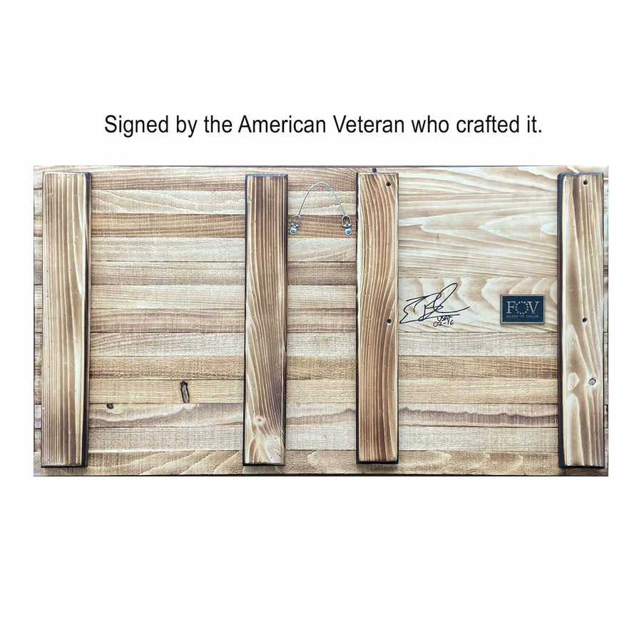 Wooden Coin Holder American Flag Signed by Combat Veteran Craftsman