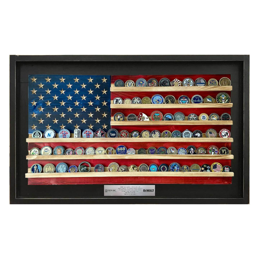 American Flag Coin Holder Framed