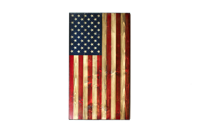 Vertical Wooden American Flag