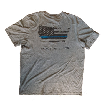 Thin Blue Line - American Flag Shirt - Front