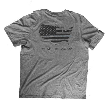 Flags of Valor - Gray Men's FOV Shirt - Made in the USA - Back