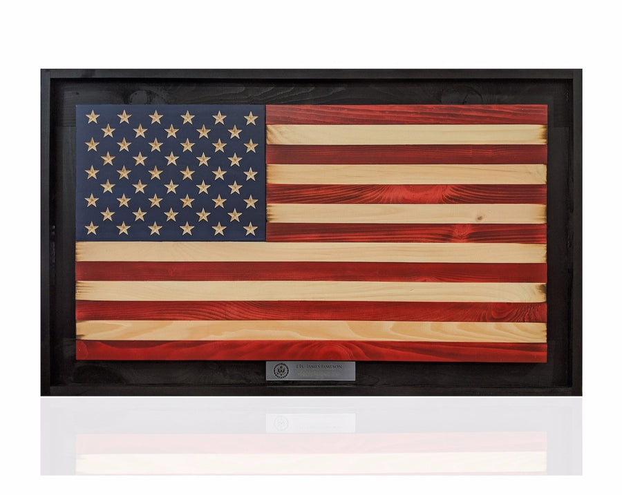 custom personalized wooden american flag made by veterans