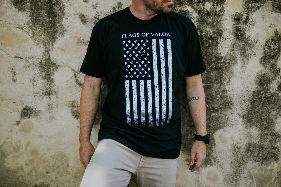 American Flag Shirt - Black Mens Shirt - Patriotic Flag Merch