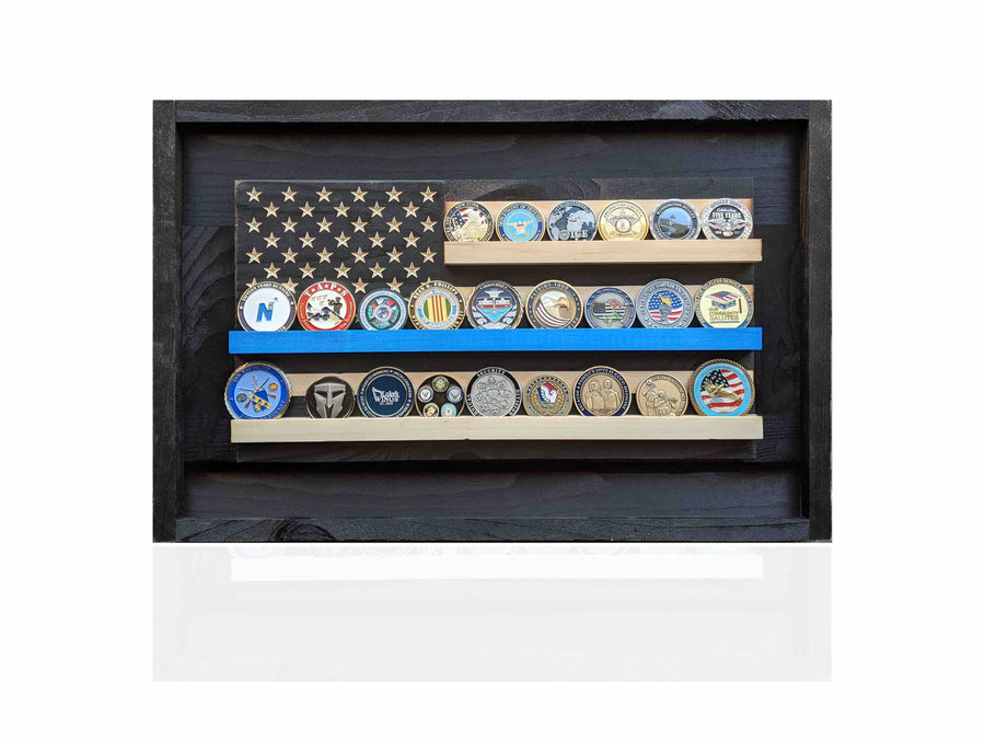 Thin Blue Line Coin Holder Flag